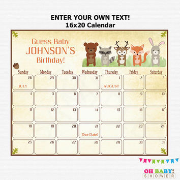 16x20 Due Date Calendar, Woodland Baby Shower Birthday Predictions, Guess Baby's Birthday, Editable, Printable Baby Shower, Download WD01