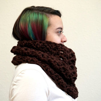 lace cowl, wool cowl, brown scarf, brown cowl, crochet cowl, lacy cowl, crochet scarf / THE KENZIE / Chocolate / Wool Acrylic