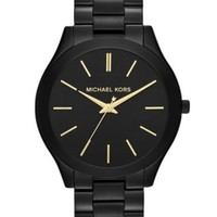 Michael Kors Women's Slim Runway Black-Tone Stainless Steel Bracelet Watch 42mm MK3221 | macys.com