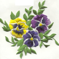 Beautiful PANSY CLUSTER LARGE Applique Iron or Sew On patch by Cedar Creek patch Shop on Etsy