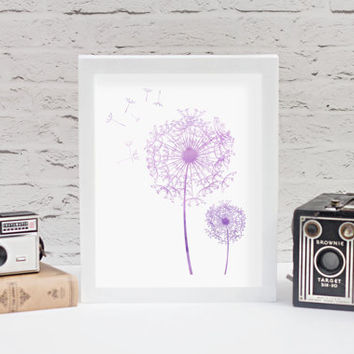 Watercolor Dandelions Print // Choose From 5 Colors // Dandelion Print // Watercolor Print