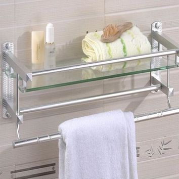 Multifunctional Glass Bathroom Shower Shelf Rack Holder Wall Mounted Caddy Organizer