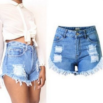 All-match Fashion Sexy Casual Female Irregular Worn Ripped Short Jeans Hot Pants