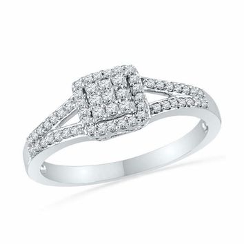 10kt White Gold Women's Round Diamond Square Cluster Split-shank Ring 1-4 Cttw - FREE Shipping (USA/CAN)