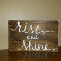 Rise and Shine Rustic Sign, Rustic Home Decor, Coffee Lovers Sign,  Primitive Sign, Rustic Coffee Lovers Sign, Kitchen Decor