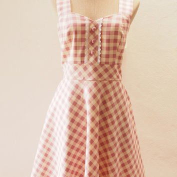 Dress in Pink , Dusky Pale Pink Summer Dress, Lolita Wedding Party Dress, Straps Gingham Dress, Vintage Inspired, Swing Dress, XS-XL,Custom