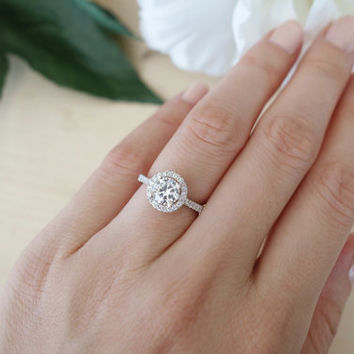1.25 Carat Classic Halo Engagement Ring, D Color Flawless Man Made Diamonds, Wedding, Bridal, Annievrsary, Promise Ring, Sterling Silver