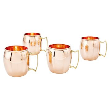 Solid Copper Moscow Mule Mugs Set of 4 16 oz