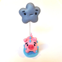 Polymer Clay Miniature Pink Pig Under a Rain Cloud, Cute Little Fimo Figurines Kawaii Style Animal