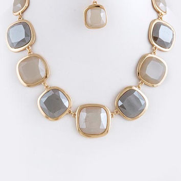 Smoked Squares Necklace