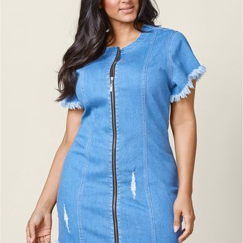 Zipper Detail Denim Dress in Light Wash | VENUS