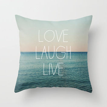 Love Laugh Live #2 Throw Pillow by Alicia Bock