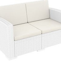 Monaco Resin Patio Loveseat White with Cushion