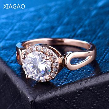 XIAGAO  Fashion Rings For Women Micro Cubic Zirconia Around Big White  Rhinestone  Wedding Forever Love R390