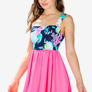 Bow Back Floral Contrast Dress