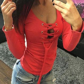 ESBOND Red Drawstring Lace Up Cut Out Round Neck Long Sleeve T-Shirt