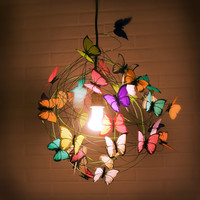 "Lamp with multicolor butterflies and green cord ""The miracle"""