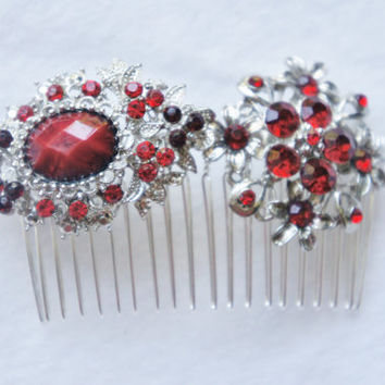 Red Christmas Hair Comb, Bridal Scarlet Red Comb, Ruby Red and Silver Rhinestone Comb, Bride Red Hair Comb