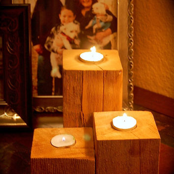 Rustic Wood Candle Holder- Pillar Candle Holder- Reclaimed Wood Sconce- Driftwood Decor- Tea Light Candle Sconce- Raw Wood Unique-LOOK~~~
