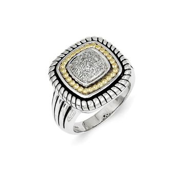 Antique Style Sterling Silver with 14k Gold 1/10ct. Diamond Ring
