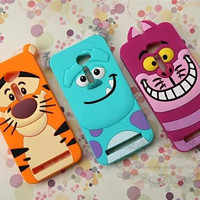 "3D Cute Cartoon Tigger Sulley Cheshire Cat Soft Rubber Silicone Back Cover Case For Asus Zenfone 2 ZE500CL 5"" Mobile Phone Cases"