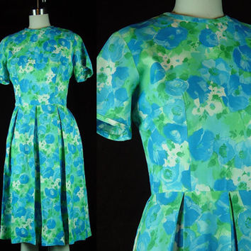 50s 60s Party Dress Vintage 1960s Blue Green Floral Box Pleat Watercolor Cocktail Easter M