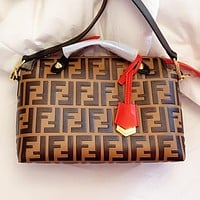 Fendi New fashion more letter leather pillow shape handbag shoulder bag crossbody bag Coffee