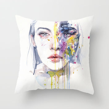 miss bow tie Throw Pillow by Agnes-cecile | Society6