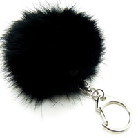Rabbit Fur Pom Pom Key Chain Black