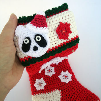 Panda christmas Stocking, crochet christmas sock, christmas decoration, crochet decoration - Red or green - Cute christmas decor