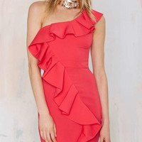 Red One-Shoulder Ruffled Bodycon Dress