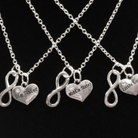 3 Necklaces Infinity Partners In Crime Big Sister Middle Sister Little Sister