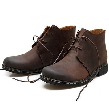 Men's British style Vintage Fashion Leather Boots Casual Plus-size Cowboy Shoes