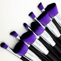 Style Master Professional Girl Women Cosmetic Liquid Blusher Powder Foundation Eyeshadow Brush Makeup Brush Set Kabuki Make Up Tool (Purple Hair)