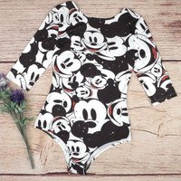 Mickey Mouse Print One Piece Swimsuit Swimwear