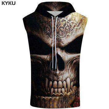 KYKU Skull Sleeveless Hoodie Men Vintage Summer Gray Sweatshirt Hooded Singlets Shirts Mens Clothing New Anime Punk
