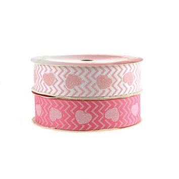Glitter Hearts Chevron Grosgrain Ribbon, 7/8-inch, 4-yard