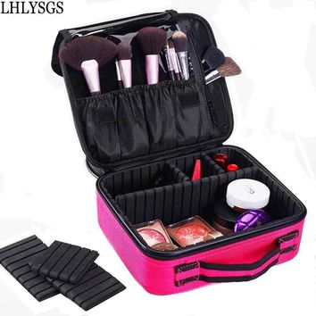 LHLYSGS Brand Cosmetic Bag Women Travel Waterproof Large Capacity Storage Organizer Toiletry Necessity Professional Makeup Bag
