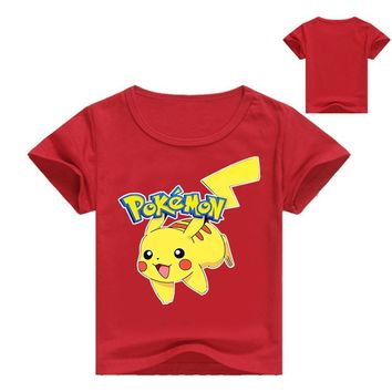 Zomer kinderen kids Shorts t-shirts katoen  Gaan jongens girlls tops tees pikachu t-shirts 3-16Years baby summer top 1057Kawaii Pokemon go  AT_89_9