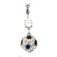 Belly Ring Sports Soccer Ball Gem Covered Dangle Naval Steel Body Jewelry