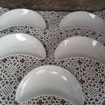 Bone Dishes, Moon Dishes, Crescent Plates, Ironstone, SET OF 5, J.G. Meakin Hanley of England, French Country, Farmhouse, Plain White