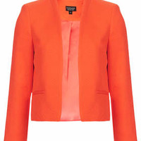 Textured Crop Jacket - Tangerine