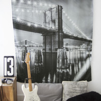 Aeropostale  Brooklyn Bridge Wall Tapestry - Black, One