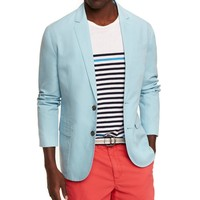 LIGHT BLUE COTTON-LINEN DECONSTRUCTED BLAZER