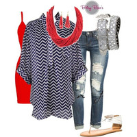 Set 451: Navy & White Chevron Top Set - Top, Tank, & Necklace/Earrings Ony