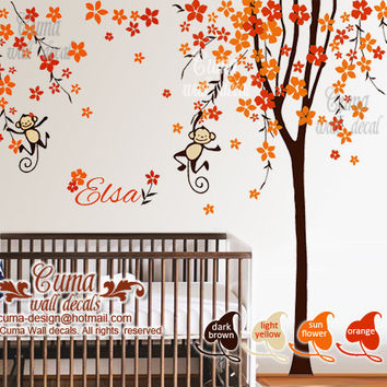 Nursery wall decal Orange cherry blossom tree with monkey baby name decal office wall decals nursery wall decal- Z209 by cuma