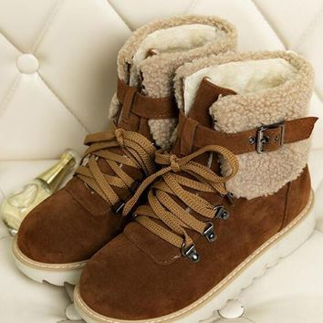 New Brown Round Toe Flat Buckle Cross Strap Fashion Ankle Boots