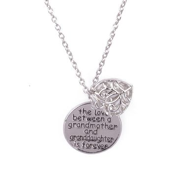 The Love Between Grandma And Granddaughter Is Forever Pendant Chain Necklace Family Party Women Jewelry Grandmother Girl Gift