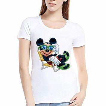 "Disney ""Mickey Mouse "" on a Lounge Chair on a White T-Shirt"