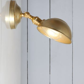 Industrial Lighting - Brass Shade Wall Sconce - Angled Lamp